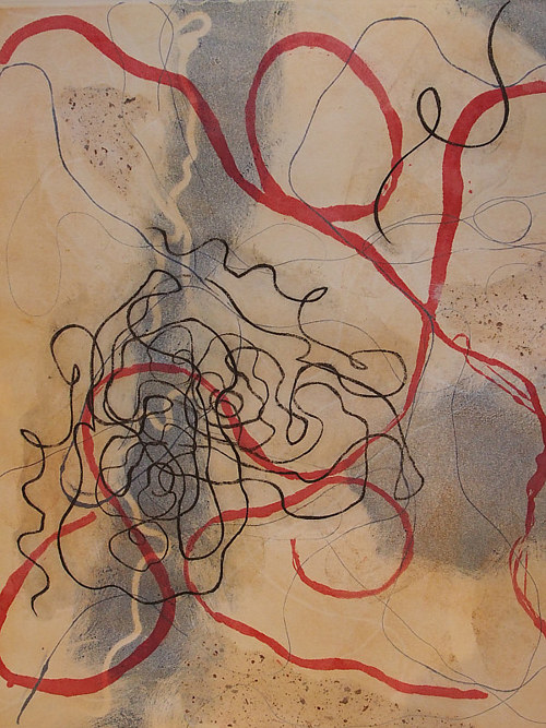 An abstract monotype print with curling lines of red and black