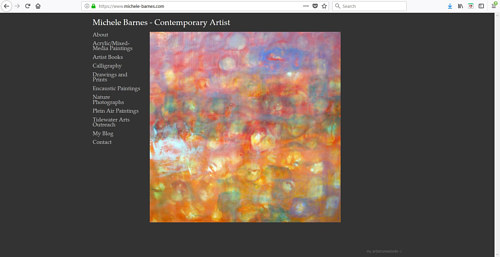 A screen capture of Michele Barnes' art website