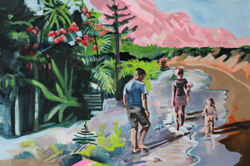 A painting of several figures walking through an area of nature