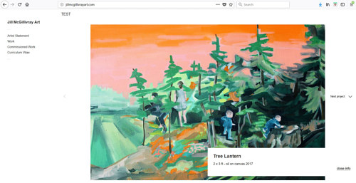 A screen capture of Jill McGillivray's art portfolio
