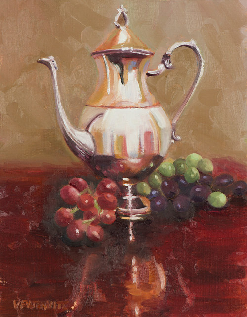 A painting of an ornate silver teapot