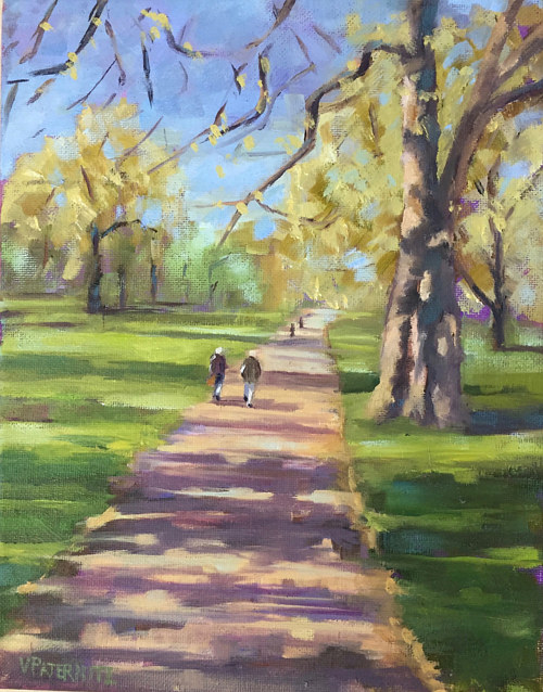 A painting of a path in a public park