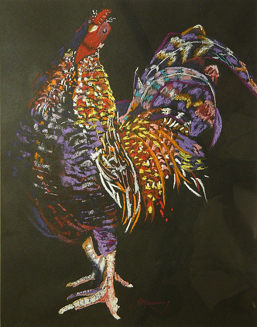 A pastel drawing of a rooster on a black background