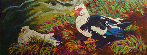 A painting of a pair of ducks in the grass