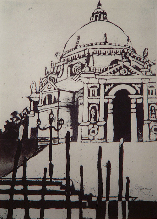 A black and white drawing of a Venetian building