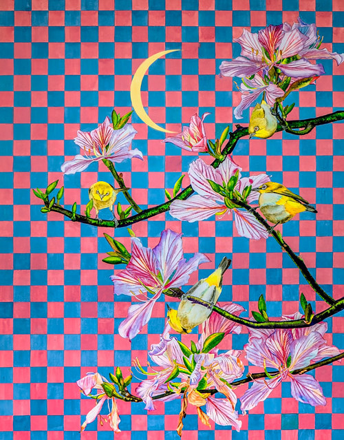 A painting with a branch of flowers over a geometric background