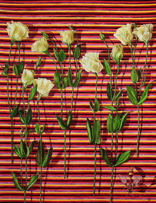 A painting of some pale flowers over a stripey background