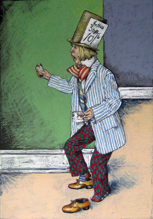 A pastel drawing of a mad hatter character