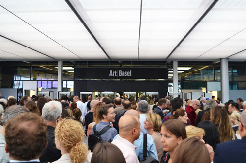Crowds gather for the opening of Art Basel