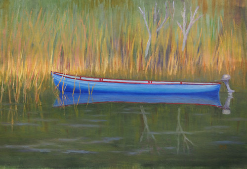 A painting of a canoe in tall grass