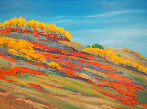 A painting of a bright-colored prairie