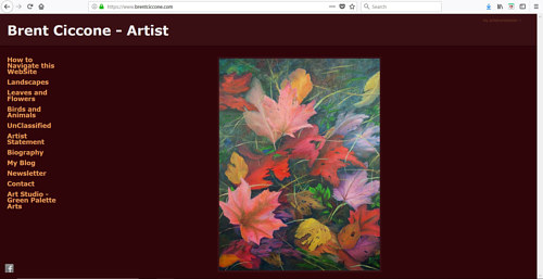 A screen capture of Brent Ciccone's art website