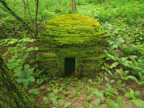 An artwork consisting of a moss-covered den in a forest