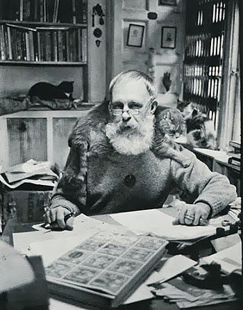 A photo of Edward Gorey in his studio