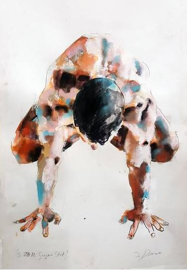 A painted study of a crouching male figure