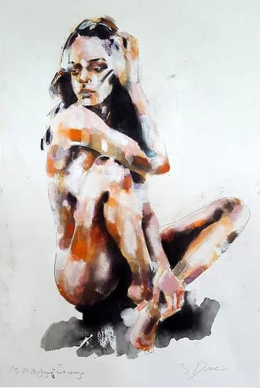 A nude female figure study
