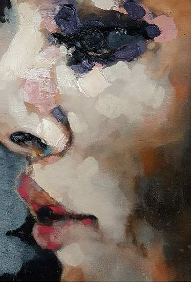 A painted study of a face in profile