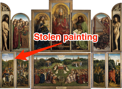 A photo of the Ghent Altarpiece include the stolen panel