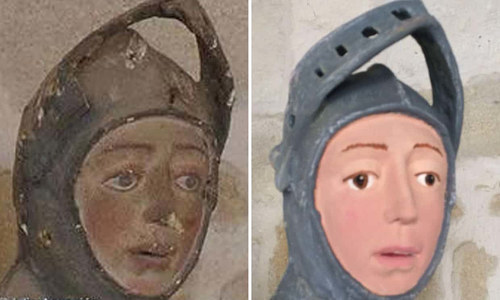 A side-by-side comparison of an original and restored effigy of St. George