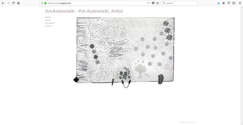 A screen capture of Pat Autenrieth's art portfolio website