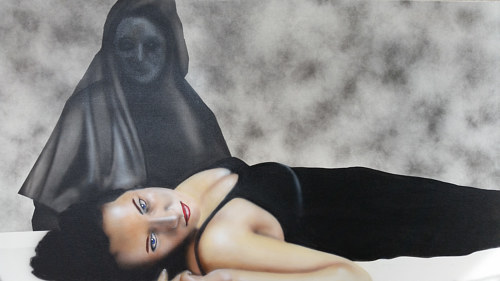 A painting of a woman reclining and a shadowy figure