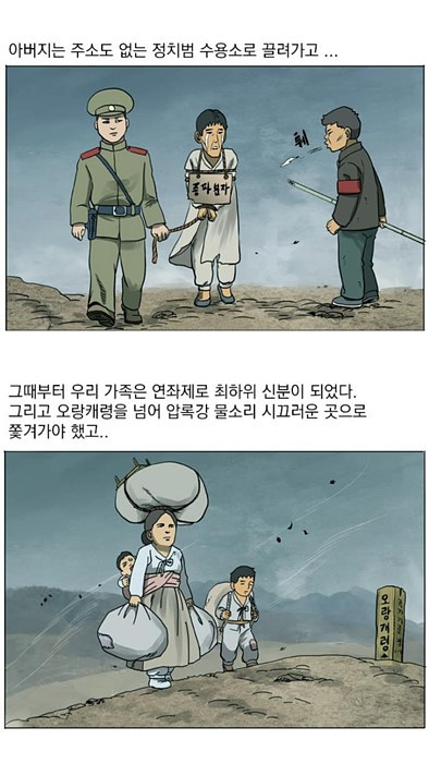 Two panels from the Rodong Shimmung comic by Choi Sung-gook