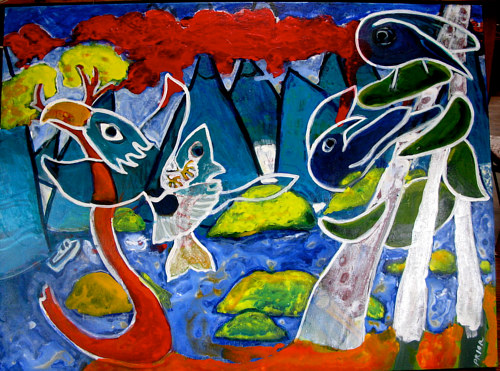 A colourful, abstracted painting of birds and fish