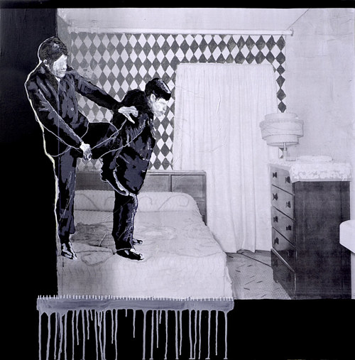 A mixed-media artwork of two figures in a black-and-white scene