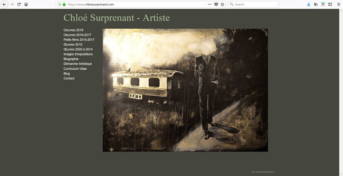 A screen capture of the front page of Chloe Surprenant's art website