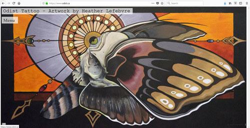 A screen capture of Heather Lefebvre's Odist Tattoo portfolio site