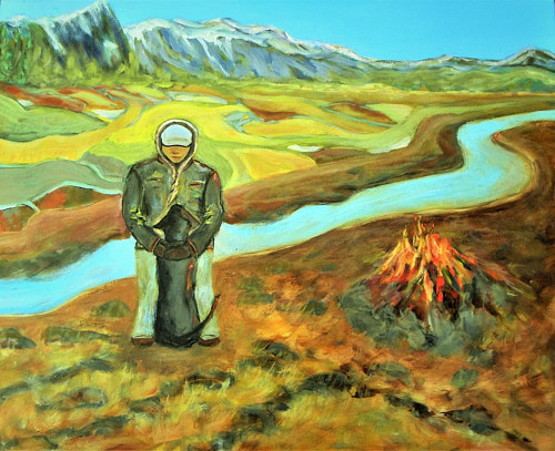 A painting of a figure in a prairie landscape