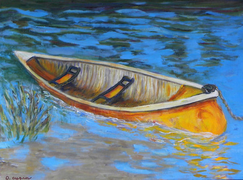 A painting of a canoe in water