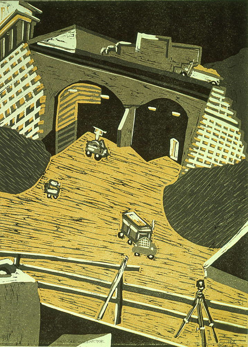 A linocut print of a roadway and vehicles
