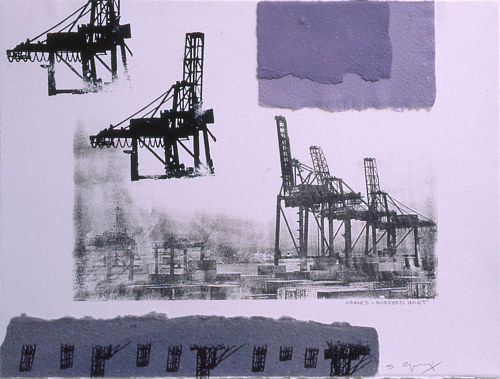 A printd image of cranes on the Burrard Inlet