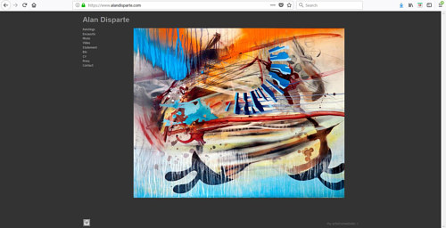 A screen capture of Alan Disparte's art website