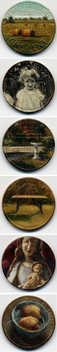 Photo of one cent coins with paintings on them