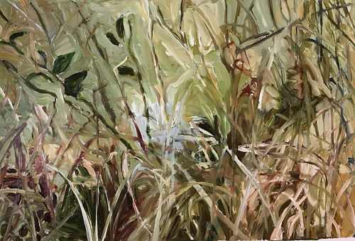 A painting of a dense area of tall grass