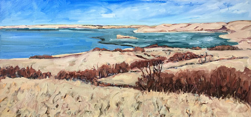 A painting of a body of water on a prairie