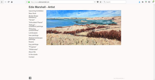 A screen capture of Edie Marshall's art website