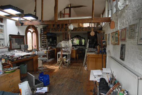 A photograph of Ralph Steadman's art studio