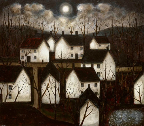 A painting of houses by John Caple