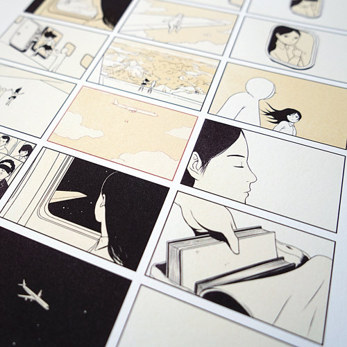 A close-up of a printed comic by Woshibai