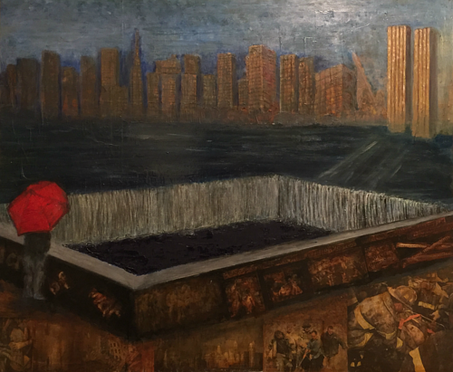 A painting of an empty spot in a city