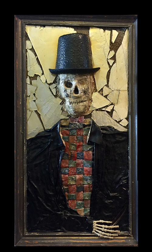 A three-dimensional portrait made with found objects
