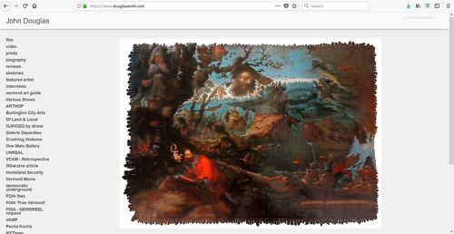 A screen capture of John Douglas' art portfolio website