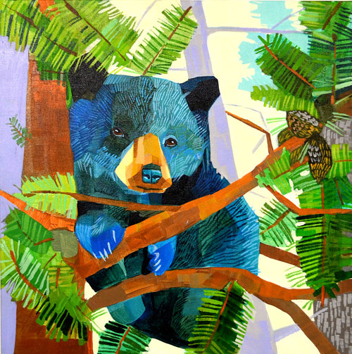 A painting of a black bear in a tree