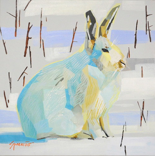 A painting of a white rabbit in the snow