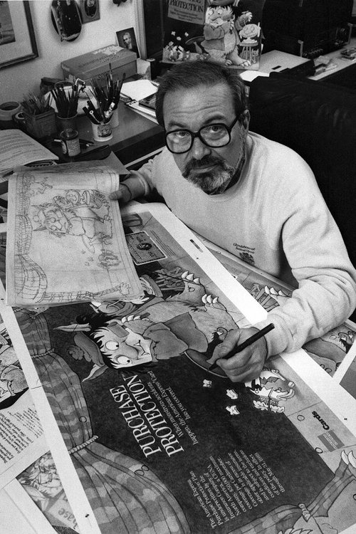 Photo of illustrator Maurice Sendak in studio