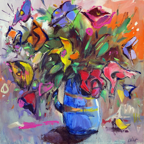 A painting of a bouquet of wildflowers
