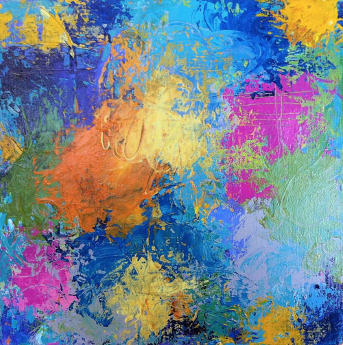 An abstract painting with bright, confetti-like colours